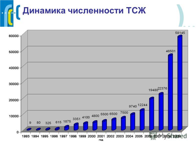 ) Динамика численности ТСЖ