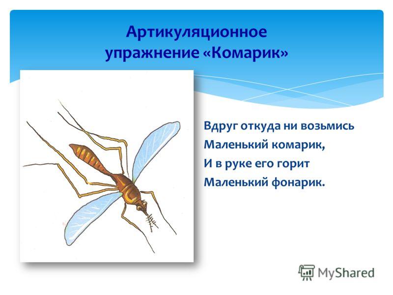Артикуляционное упражнение «Комарик» Вдруг откуда ни возьмись Маленький комарик, И в руке его горит Маленький фонарик.
