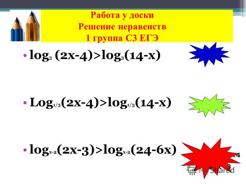Работа у доски Решение неравенств 1 группа С3 ЕГЭ log 3 (2х-4)>log 3 (14-x) Log 1/3 (2х-4)>log 1/3 (14-x) log x-2 (2х-3)>log x-2 (24-6x) 6