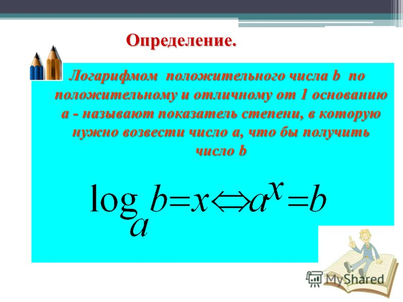 Определение. Логарифмом положительного числа b п п п по положительному и отличному от 1 основанию a - называют показатель степени, в которую нужно возвести число a, что бы получить число b