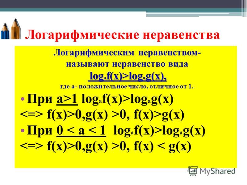 Логарифмические неравенства Логарифмическим неравенством- называют неравенство вида log a f(x)>log a g(x), log a f(x)>log a g(x), где а- положительное число, отличное от 1. При а>1 log a f(x)>log a g(x) f(x)>0,g(x) >0, f(x)>g(x) При 0 log a g(x) f(x)