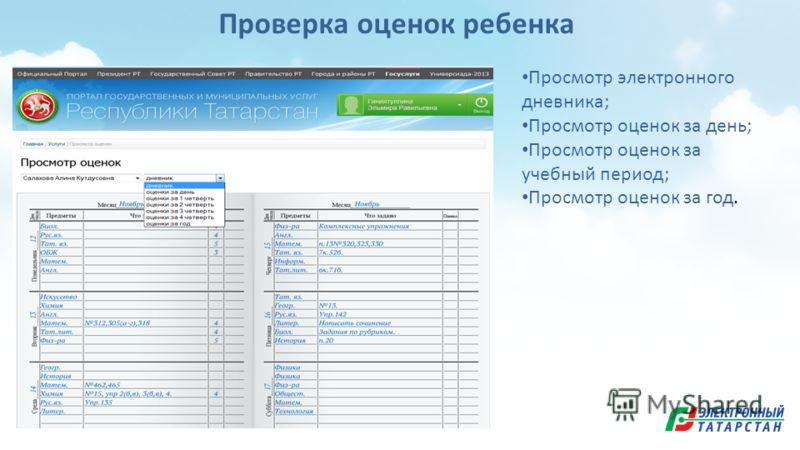 Проверка оценок ребенка Просмотр электронного дневника; Просмотр оценок за день; Просмотр оценок за учебный период; Просмотр оценок за год.
