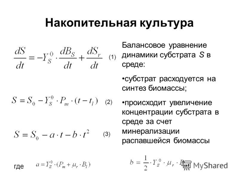 Накопительная культура Балансовое уравнение динамики субстрата S в среде: субстрат расходуется на синтез биомассы; происходит увеличение концентрации субстрата в среде за счет минерализации распавшейся биомассы где (2) (3) (1)