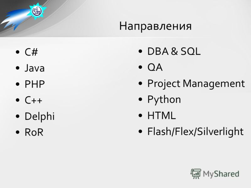 C# Java PHP C++ Delphi RoR Направления DBA & SQL QA Project Management Python HTML Flash/Flex/Silverlight