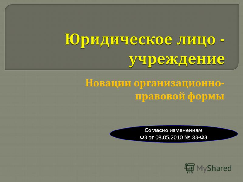 Новации организационно - правовой формы Согласно изменениям ФЗ от 08.05.2010 83-ФЗ