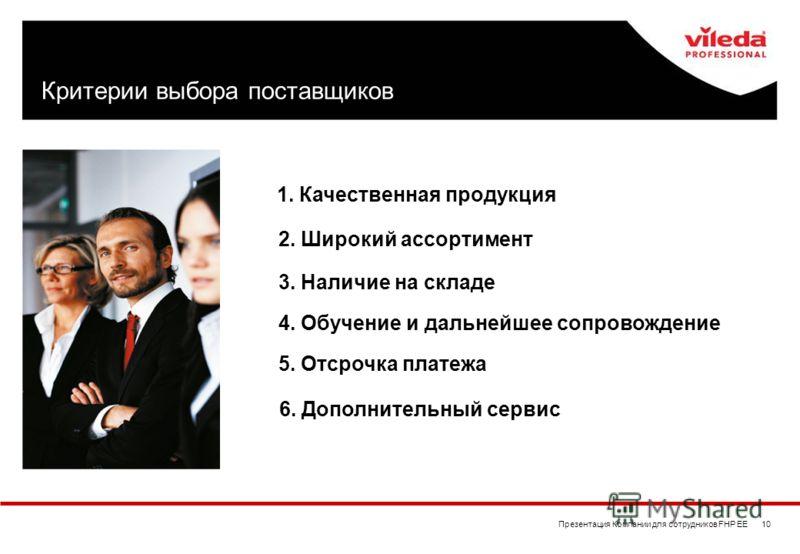 Презентация Компании для сотрудников FHP EE 10 Критерии выбора поставщиков 1. Качественная продукция 2. Широкий ассортимент 3. Наличие на складе 4. Обучение и дальнейшее сопровождение 5. Отсрочка платежа 6. Дополнительный сервис