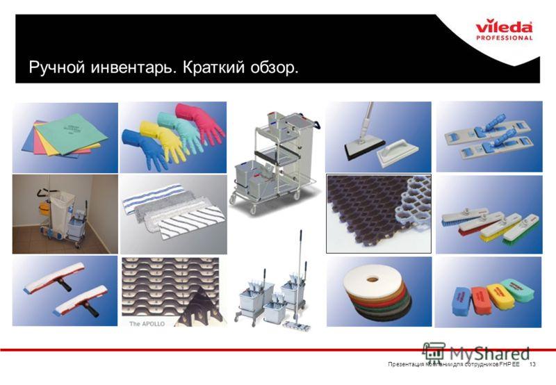 Презентация Компании для сотрудников FHP EE 13 Ручной инвентарь. Краткий обзор.