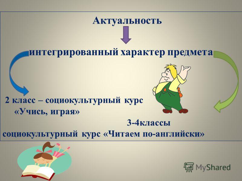 Актуальность интегрированный характер предмета 2 класс – социокультурный курс «Учись, играя» 3-4классы социокультурный курс «Читаем по-английски»