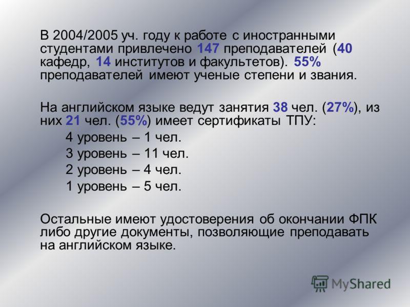 В 2004/2005 уч. году к работе с иностранными студентами привлечено 147 преподавателей (40 кафедр, 14 институтов и факультетов). 55% преподавателей имеют ученые степени и звания. На английском языке ведут занятия 38 чел. (27%), из них 21 чел. (55%) им