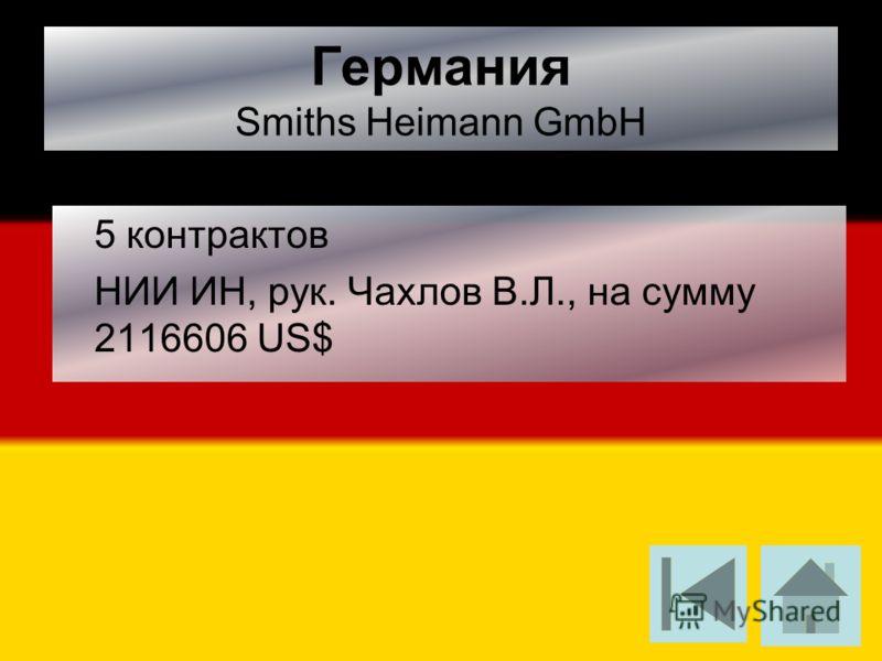 Германия Smiths Heimann GmbH 5 контрактов НИИ ИН, рук. Чахлов В.Л., на сумму 2116606 US$