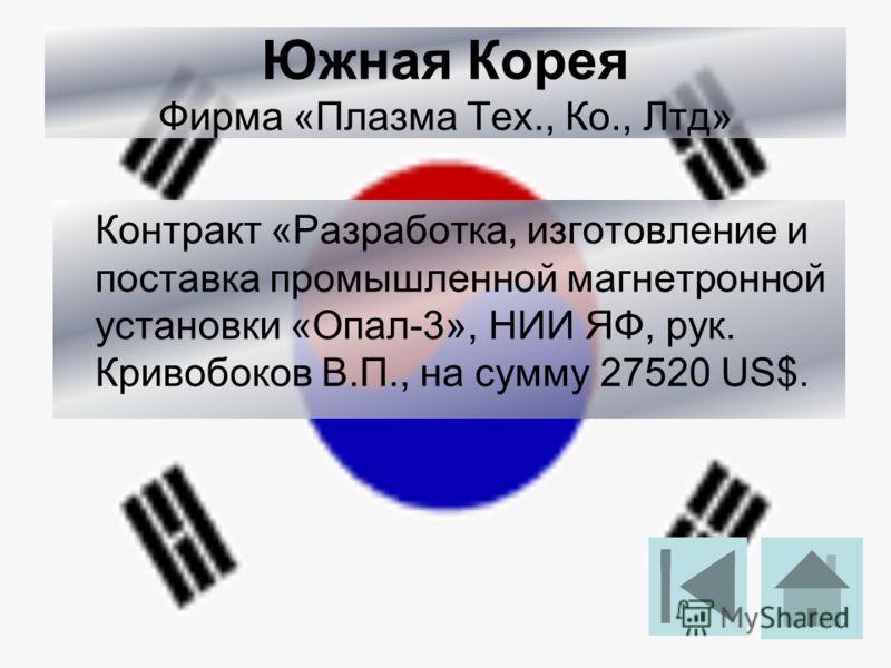 Южная Корея Фирма «Плазма Тех., Ко., Лтд» Контракт «Разработка, изготовление и поставка промышленной магнетронной установки «Опал-3», НИИ ЯФ, рук. Кривобоков В.П., на сумму 27520 US$.