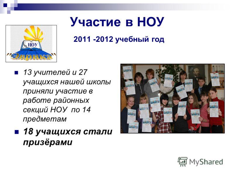 Участие в НОУ 2011 -2012 учебный год 13 учителей и 27 учащихся нашей школы приняли участие в работе районных секций НОУ по 14 предметам 18 учащихся стали призёрами