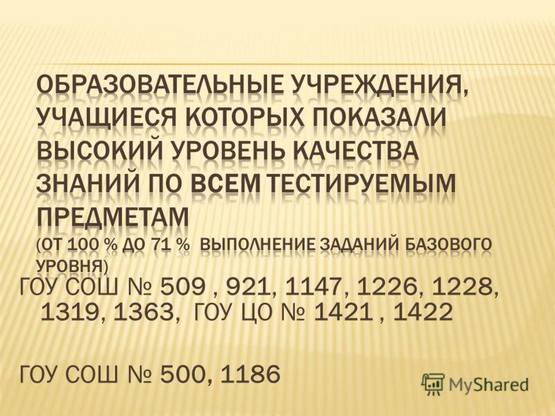 ГОУ СОШ 509, 921, 1147, 1226, 1228, 1319, 1363, ГОУ ЦО 1421, 1422 ГОУ СОШ 500, 1186