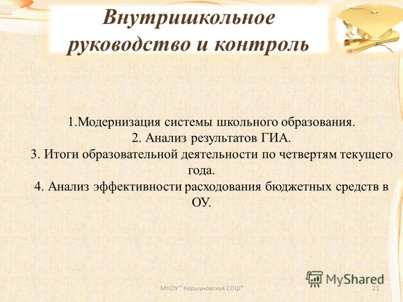 Внутришкольное руководство и контроль МКОУ