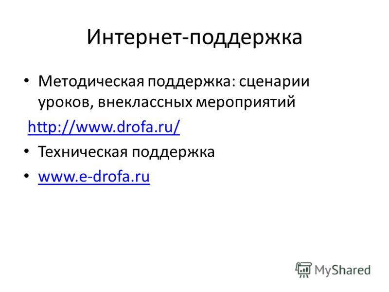 Интернет-поддержка Методическая поддержка: сценарии уроков, внеклассных мероприятий http://www.drofa.ru/ Техническая поддержка www.e-drofa.ru