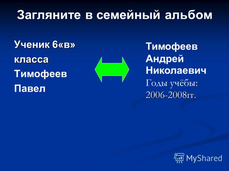 Загляните в семейный альбом Ученик 6«в» класса Тимофеев Павел 2006-2008гг. Тимофеев Андрей Николаевич Годы учёбы: 2006-2008гг.