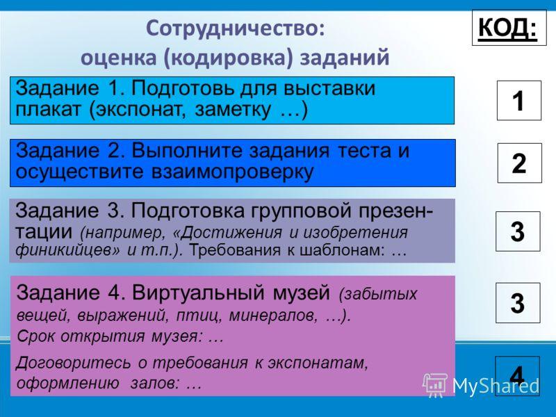 Сотрудничество: оценка (кодировка) заданий КОД: 1 Задание 1. Подготовь для выставки плакат (экспонат, заметку …) Договоритесь о требования к экспонатам, оформлению залов: … 3 Задание 2. Выполните задания теста и осуществите взаимопроверку 2 Задание 3