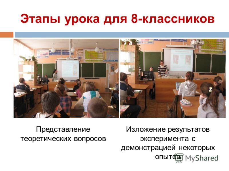 Этапы урока для 8-классников Представление теоретических вопросов Изложение результатов эксперимента с демонстрацией некоторых опытов
