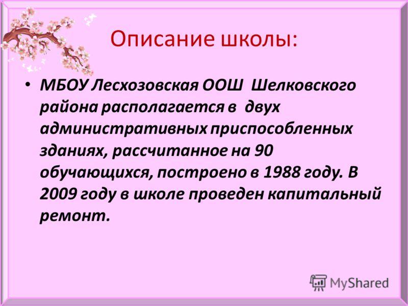 Описание школы: МБОУ Лесхозовская ООШ Шелковского района располагается в двух административных приспособленных зданиях, рассчитанное на 90 обучающихся, построено в 1988 году. В 2009 году в школе проведен капитальный ремонт.