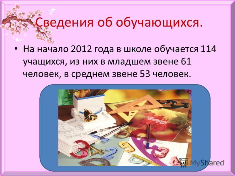Сведения об обучающихся. На начало 2012 года в школе обучается 114 учащихся, из них в младшем звене 61 человек, в среднем звене 53 человек.