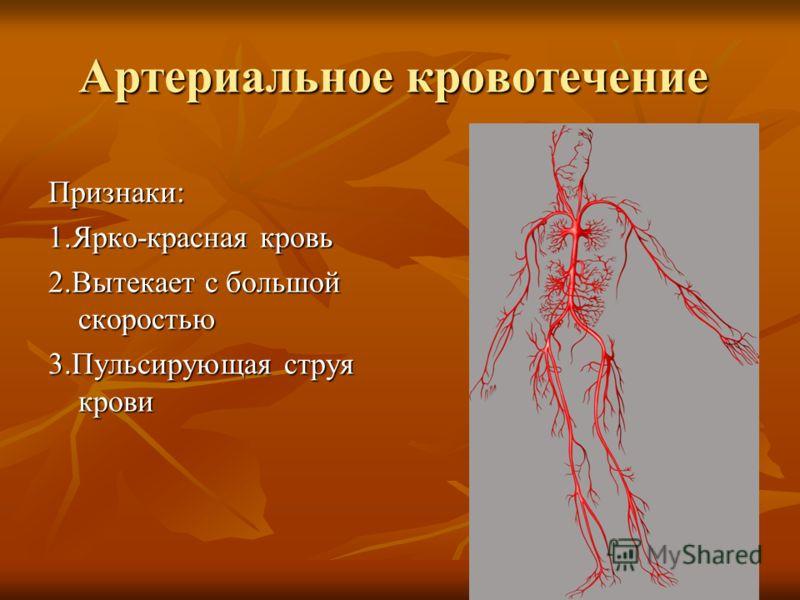 Артериальное кровотечение Признаки: 1.Ярко-красная кровь 2.Вытекает с большой скоростью 3.Пульсирующая струя крови
