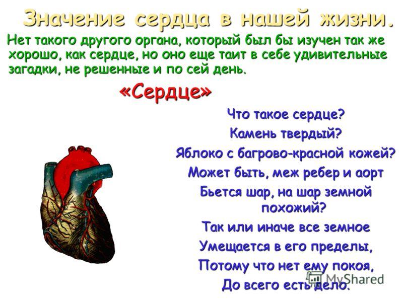 Что такое сердце? Камень твердый? Яблоко с багрово-красной кожей? Может быть, меж ребер и аорт Бьется шар, на шар земной похожий? Так или иначе все земное Умещается в его пределы, Потому что нет ему покоя, До всего есть дело. Значение сердца в нашей