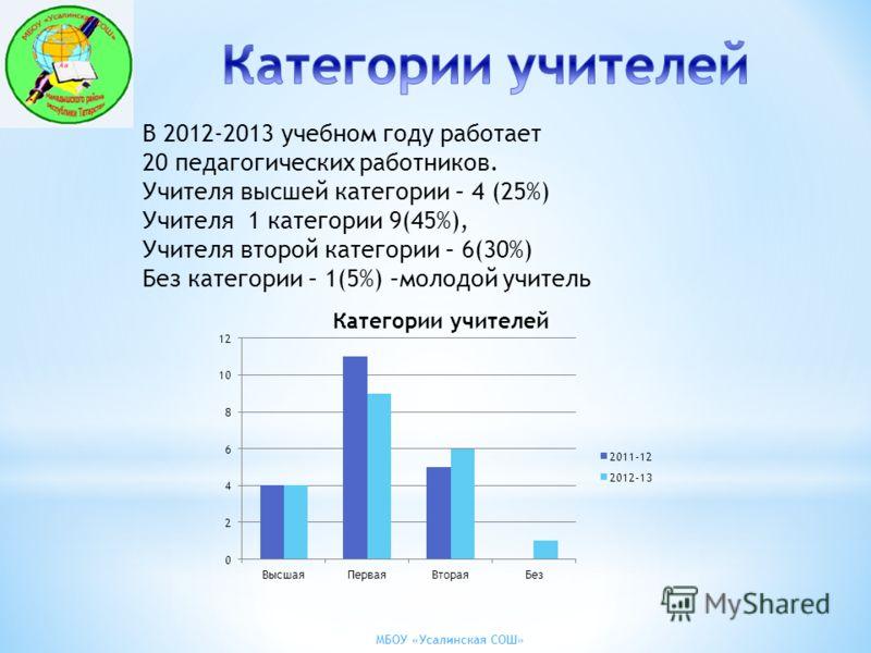 МБОУ «Усалинская СОШ» В 2012-2013 учебном году работает 20 педагогических работников. Учителя высшей категории – 4 (25%) Учителя 1 категории 9(45%), Учителя второй категории – 6(30%) Без категории – 1(5%) –молодой учитель