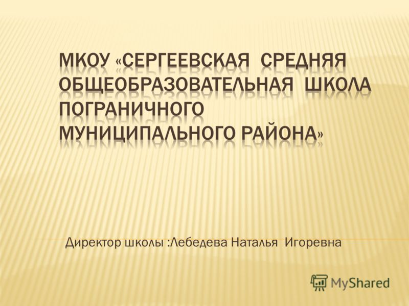 Директор школы :Лебедева Наталья Игоревна