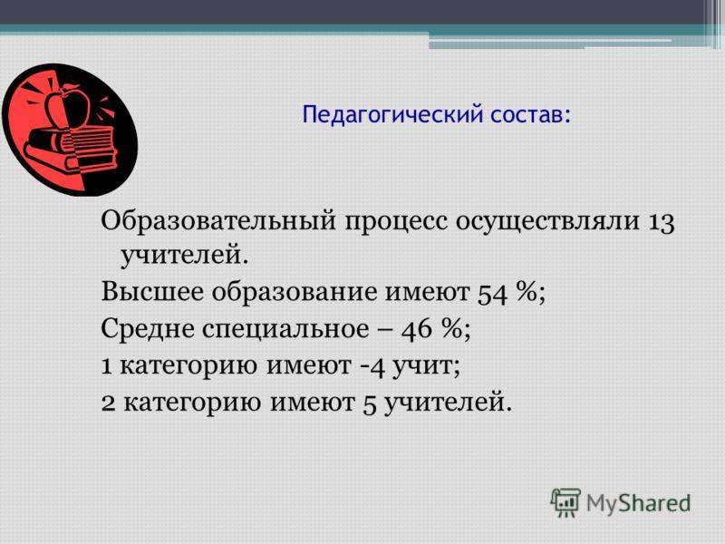 Педагогический состав: Образовательный процесс осуществляли 13 учителей. Высшее образование имеют 54 %; Средне специальное – 46 %; 1 категорию имеют -4 учит; 2 категорию имеют 5 учителей.