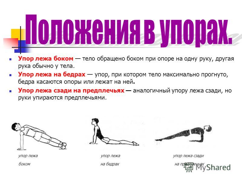 Упор лежа боком тело обращено боком при опоре на одну руку, другая рука обычно у тела. Упор лежа на бедрах упор, при котором тело максимально прогнуто, бедра касаются опоры или лежат на ней. Упор лежа сзади на предплечьях аналогичный упору лежа сзади