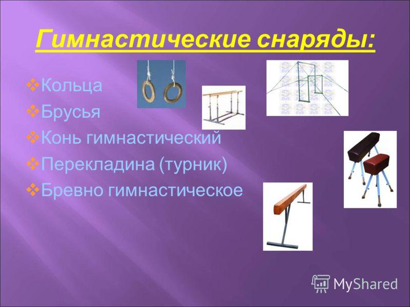 Гимнастические снаряды: Кольца Брусья Конь гимнастический Перекладина (турник) Бревно гимнастическое