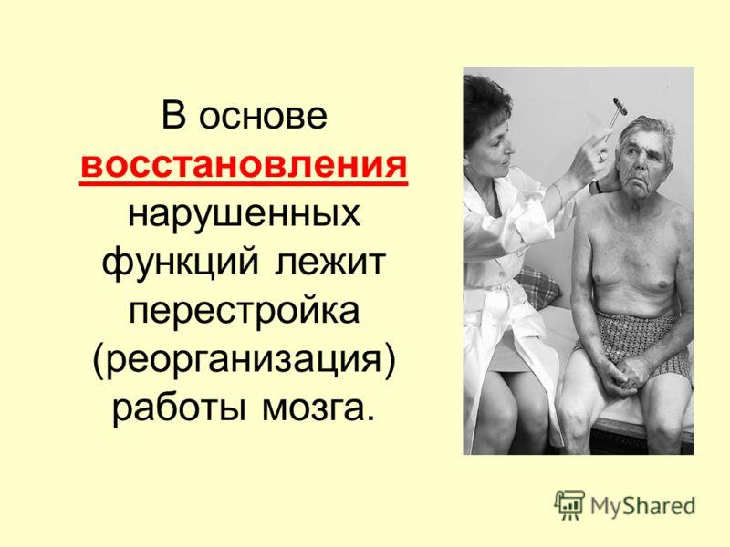 В основе восстановления нарушенных функций лежит перестройка (реорганизация) работы мозга.