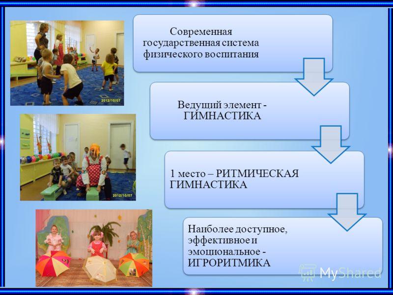 Современная государственная система физического воспитания Ведущий элемент - ГИМНАСТИКА 1 место – РИТМИЧЕСКАЯ ГИМНАСТИКА Наиболее доступное, эффективное и эмоциональное - ИГРОРИТМИКА