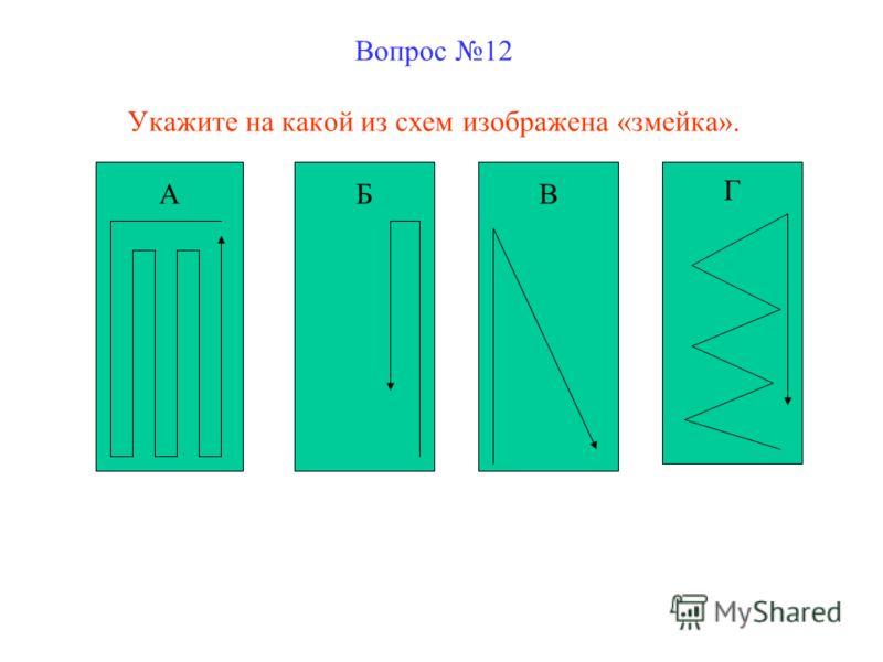 Вопрос 12 Укажите на какой из схем изображена «змейка». АБВ Г