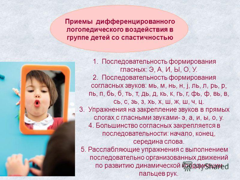 Приемы дифференцированного логопедического воздействия в группе детей со спастичностью 1.Последовательность формирования гласных: Э, А, И, Ы, О, У. 2.Последовательность формирования согласных звуков: мь, м, нь, н, j, ль, л, рь, р, пь, п, бь, б, ть, т