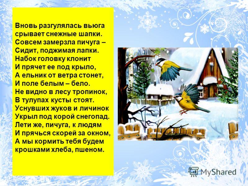 Вновь разгулялась вьюга срывает снежные шапки. Совсем замерзла пичуга – Сидит, поджимая лапки. Набок головку клонит И прячет ее под крыло, А ельник от ветра стонет, И поле белым – бело. Не видно в лесу тропинок, В тулупах кусты стоят. Уснувших жуков