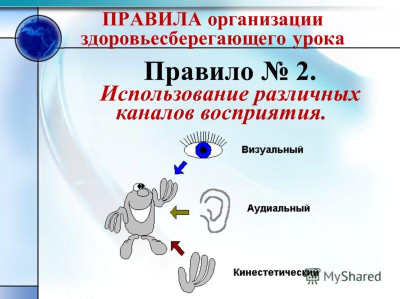ПРАВИЛА организации здоровьесберегающего урока Правило 2. Использование различных каналов восприятия.