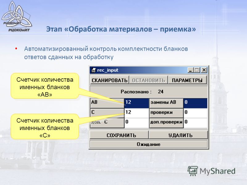 Этап «Обработка материалов – приемка» Автоматизированный контроль комплектности бланков ответов сданных на обработку Счетчик количества именных бланков «АВ» Счетчик количества именных бланков «С»