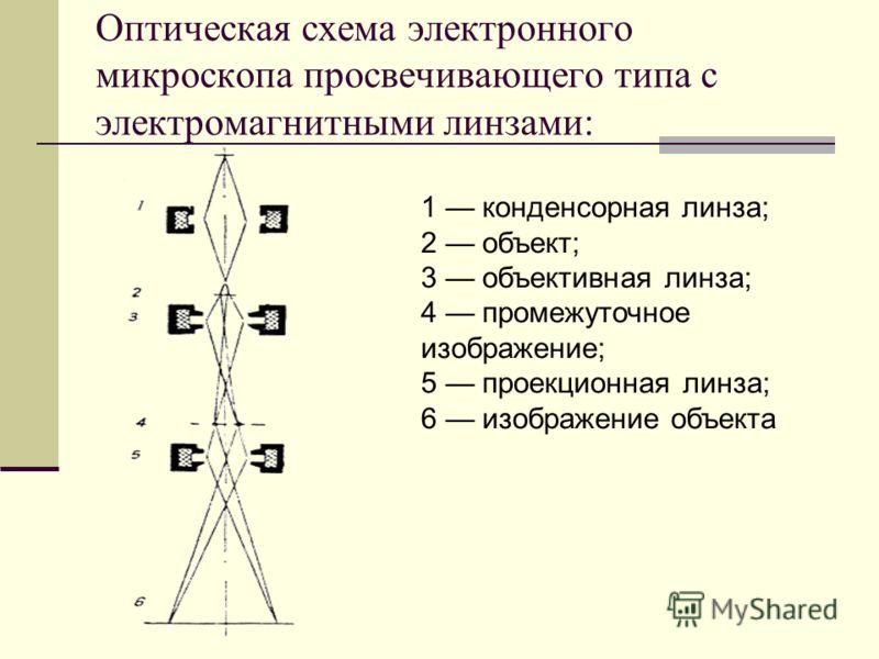 Оптическая схема электронного микроскопа просвечивающего типа с электромагнитными линзами: 1 конденсорная линза; 2 объект; 3 объективная линза; 4 промежуточное изображение; 5 проекционная линза; 6 изображение объекта