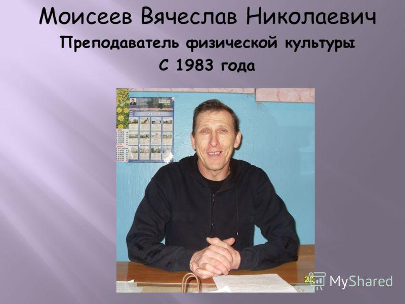 Моисеев Вячеслав Николаевич Преподаватель физической культуры С 1983 года