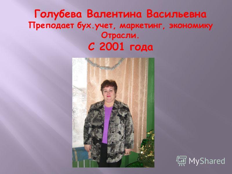 Голубева Валентина Васильевна Преподает бух.учет, маркетинг, экономику Отрасли. С 2001 года