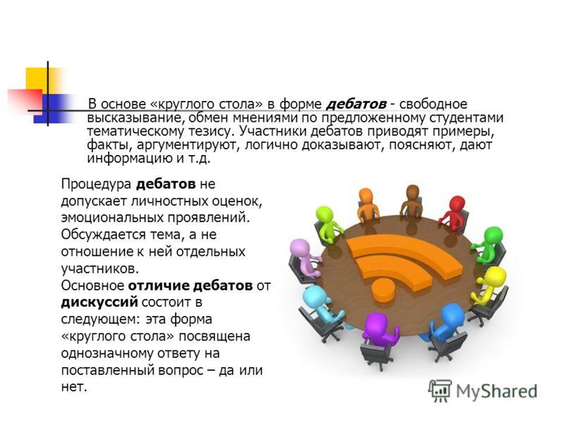 В основе «круглого стола» в форме дебатов - свободное высказывание, обмен мнениями по предложенному студентами тематическому тезису. Участники дебатов приводят примеры, факты, аргументируют, логично доказывают, поясняют, дают информацию и т.д. Процед