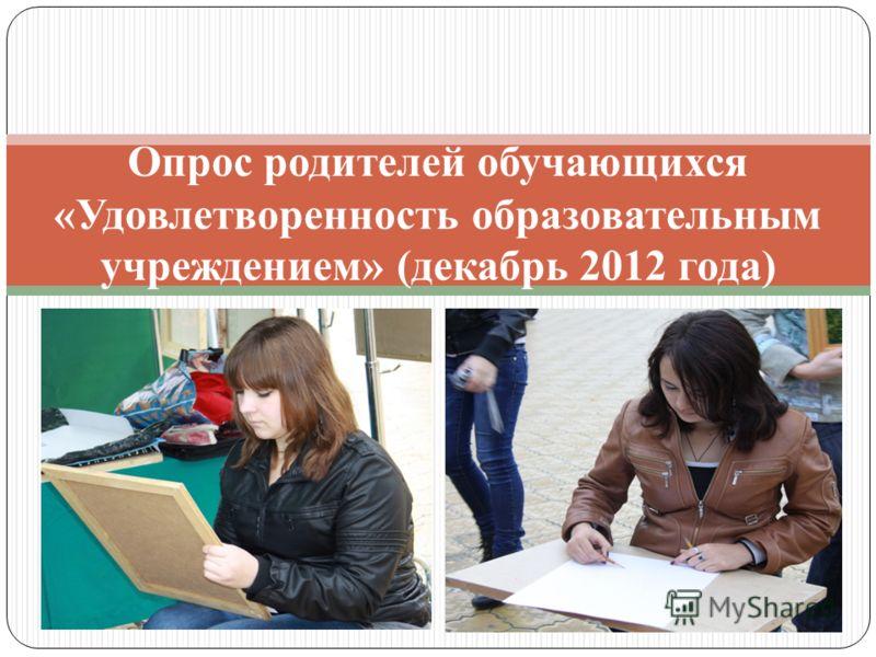 Опрос родителей обучающихся «Удовлетворенность образовательным учреждением» (декабрь 2012 года)