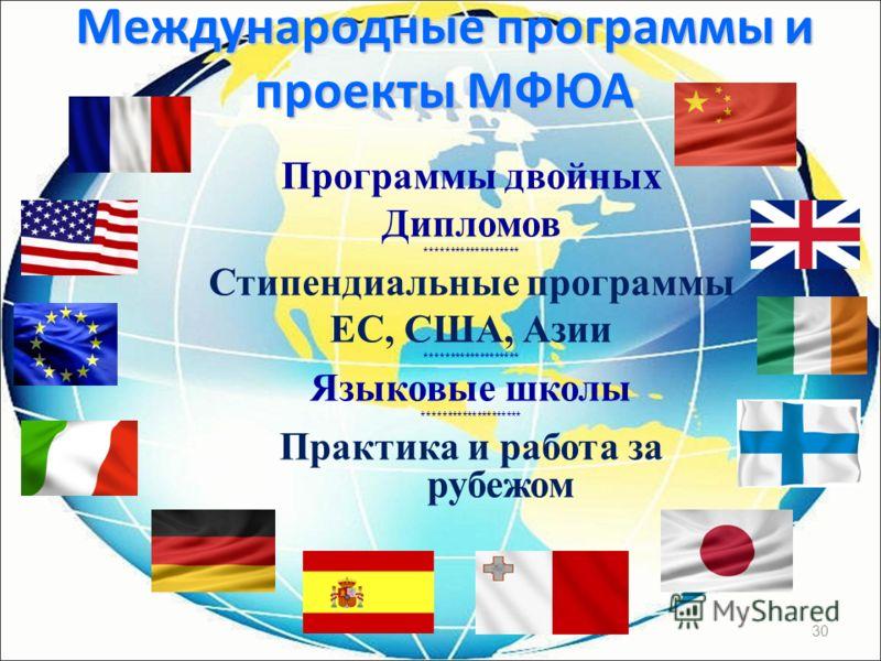 30 Программы двойных Дипломов ******************* Стипендиальные программы ЕС, США, Азии ******************* Языковые школы ******************** Практика и работа за рубежом Международные программы и проекты МФЮА