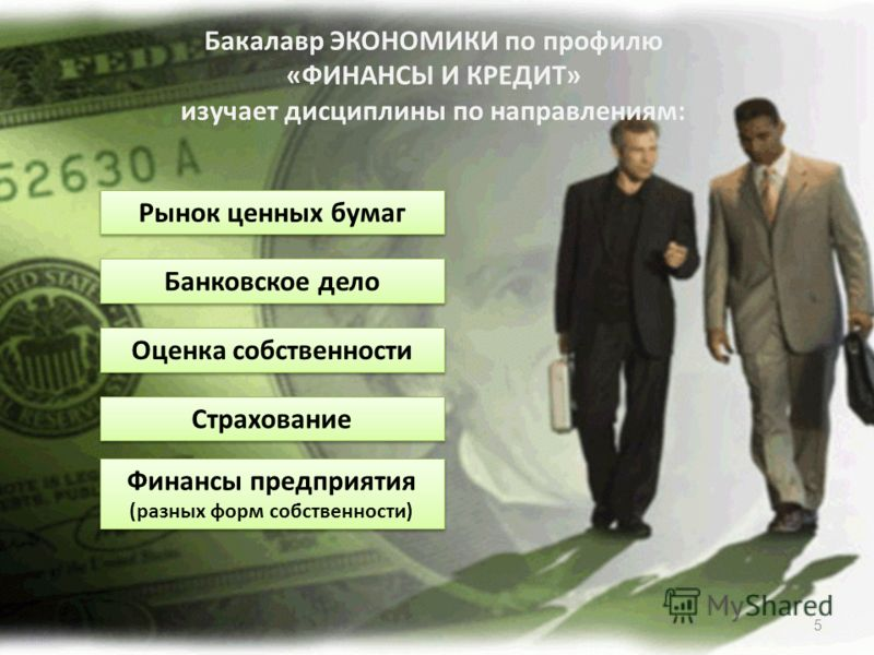5 Бакалавр ЭКОНОМИКИ по профилю «ФИНАНСЫ И КРЕДИТ» изучает дисциплины по направлениям: Рынок ценных бумаг Банковское дело Оценка собственности Страхование Финансы предприятия (разных форм собственности)