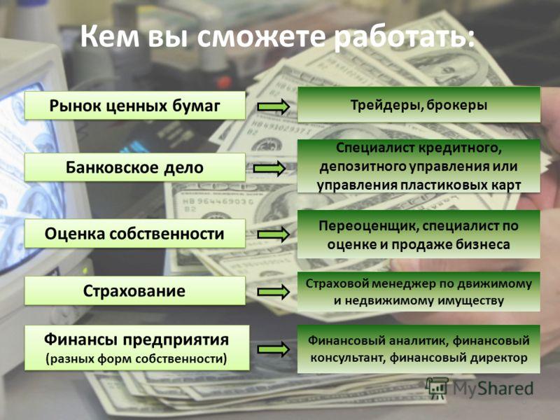 6 Кем вы сможете работать: Рынок ценных бумаг Банковское дело Оценка собственности Страхование Финансы предприятия (разных форм собственности) Трейдеры, брокеры Специалист кредитного, депозитного управления или управления пластиковых карт Переоценщик