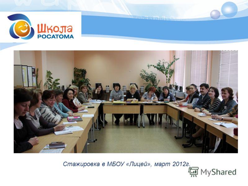 Стажировка в МБОУ «Лицей», март 2012г.