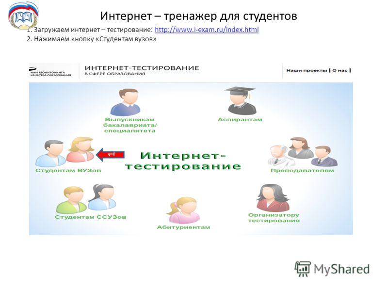 Интернет – тренажер для студентов 1. Загружаем интернет – тестирование: http://www.i-exam.ru/index.htmlhttp://www.i-exam.ru/index.html 2. Нажимаем кнопку «Студентам вузов» 1