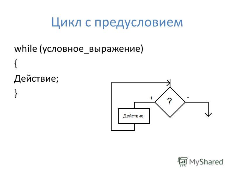 Цикл с предусловием while (условное_выражение) { Действие; }