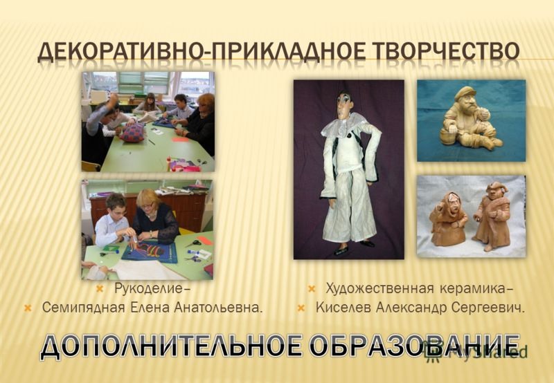 Рукоделие– Семипядная Елена Анатольевна. Художественная керамика– Киселев Александр Сергеевич.
